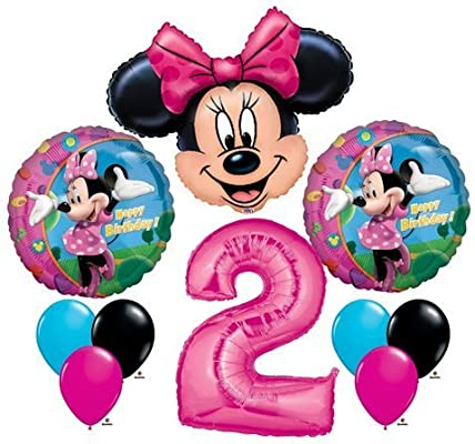 Amazon Minnie Mouse 2 2nd Second Happy Birthday Balloon Party Set Mylar Latex Disney By Anagram Toys Games