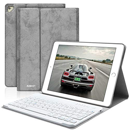 BAIKEN iPad Keyboard Case 9.7 for iPad 2018(6th Gen)/iPad 2017 (5th Gen)/iPad Pro 9.7/iPad Air 2&1 - iPad Case with Detachable Bluetooth Keyboard (Best Ipad Air Keyboard Case)