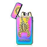 HopingFire USB Rechargeable Windproof Flameless Electronic Pulse Double Arc Cigarette Lighter Scorpion Pattern Plasma Lighter (Rainbow Scorpion)