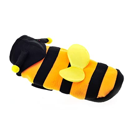 6b8480a3690 Amazon.com   ACTLATI Pets Coats Cute Bee Design Cats Dogs Cosplay Warm  Costume Hoodie with Hat and Wing   Pet Supplies
