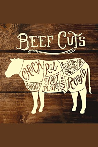 Beef Cuts on Wooden Background Butcher Shop Diagram Poster 12x18