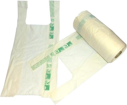 Rollo con bolsas de la compra biodegradables, reciclables. Sobre ...