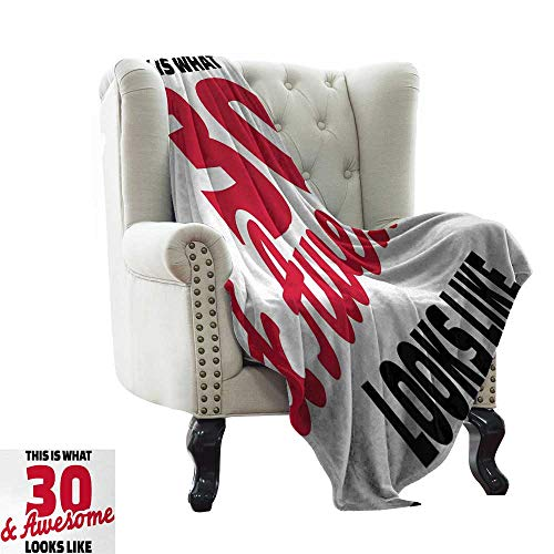 (LsWOW Baby Blanket Yarn 30th Birthday,Thirty and Amazing Motivational Quote Milestone Anniversary Theme,Red Black and White Super Soft Faux Fur Plush Decorative Blanket 35