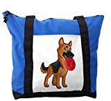 Lunarable German Shepherd Shoulder Bag, Friendly Playful, Durable with Zipper