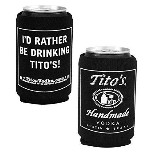 (1 Tito's Vodka Can Bottle Cooler-  Black)