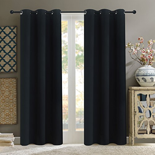 Alice Brown Solid Thermal Insulated Blackout Window Curtains/Draperies/Panels for Bedroom/Living Room/Sliding glass doors Top Fation Grommet by (1 Panel,W42 x L84 –Inch,Black) (Bedroom For Curtains Sale)