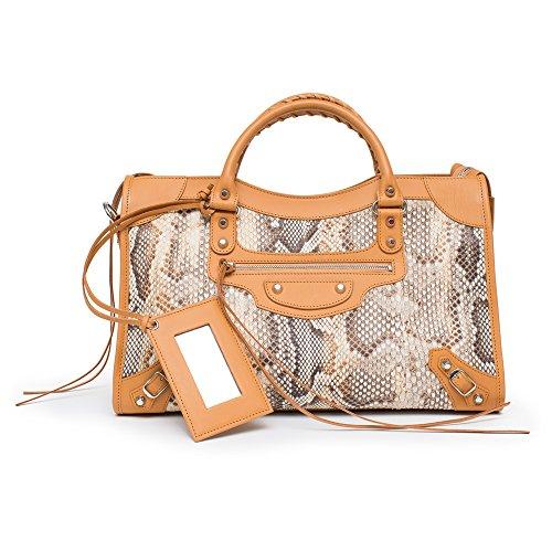 Balenciaga Classic City Python Leather Shoulder Bag Beige Bag New