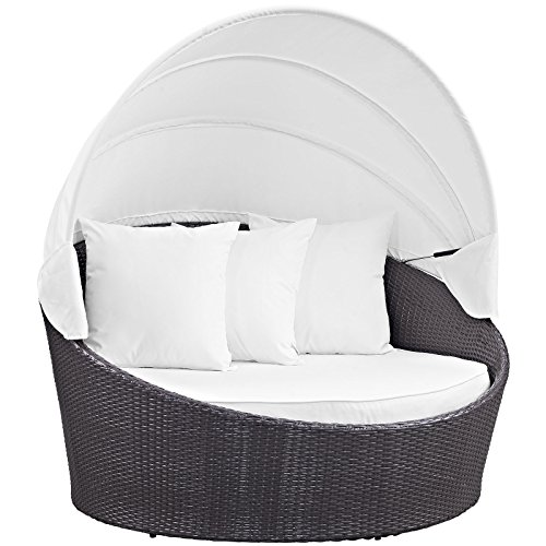 Modway Convene Wicker Rattan Outdoor Patio Canopy Daybed in Espresso White (Furniture Outdoor Daybeds)