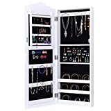 WATERJOY Wall Mounted Mirrored Jewelry Armoire Storage Organizer White