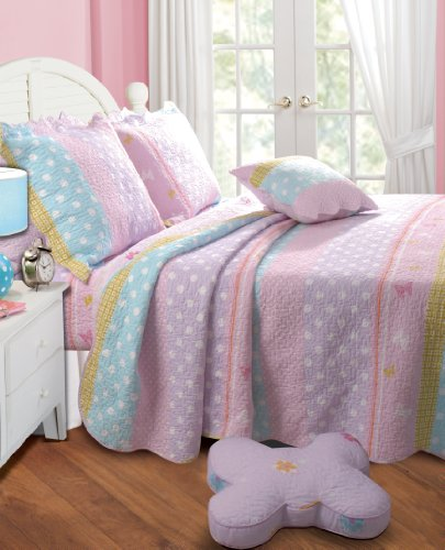 Greenland Home Polka Dot Stripe Quilt Set, Queen, Pink