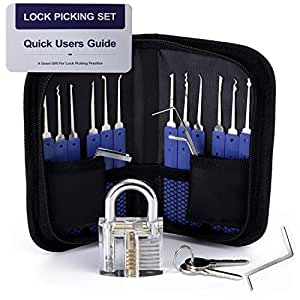 Lock Pick Set, Cozysmart 17-Piece Lock Picking Set kit Tools with 1 Clear Practice and Training Locks for Lockpicking, Extractor Tool for Beginner and Pro Locksmiths