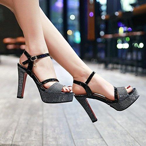 Correa De Tobillo Zapatos Low Heel Sandalias Noche Ladies Toe Black Peep Party Mujer Plataforma Block Para De w6PBp