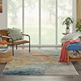 Nourison Celestial Modern Abstract Area Rug, 5'3' x 7'3' (5x7), Sealife Multicolor Grey