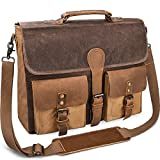 Mens Messenger Bag 15.6 Inch Canvas Leather Laptop Bag Waterproof Briefcase Satchel Vintage Shoulder Bag Brown