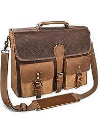 Mens Messenger Bag 15.6 Inch Canvas Leather Laptop Bag Waterproof Briefcase Satchel Vintage ShoulderBag Brown