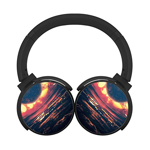 Gamer Chart Heat Wave Cityscape Clouds Airplane Stereo Wireless Headphones With Microphone On-Ear Foldable Portable Music Headsets For Cellphones Laptop Tablet Tv Headphonesblack