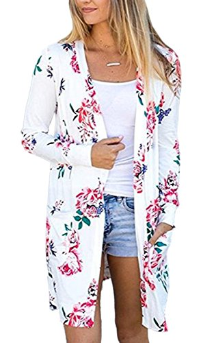 ECOWISH Womens Floral Print Long Sleeves Kimono Cardigans Blouses Coverup Chiffon Jacket Tops, White, XL