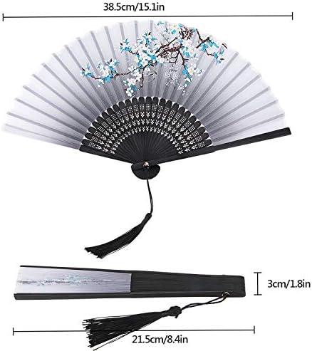 RATEL Pliant Eventail en Tissu Ventilateur pour Femme Handheld Eventail Japonais Style Gland Ventilateur pour la d/écoration de Mariage D/écoration Murale Maison