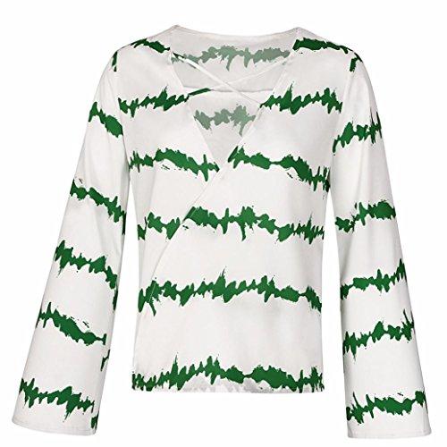 Femmes ~ Longue Shirt Haut Vert Chevauchement Grande Chemisier S Col XXXL Sexy Fille Shirts V Manche T Chemises Wolfleague Chiffon Vrac Blouse Ray Taille en Casual qxpwYgEx