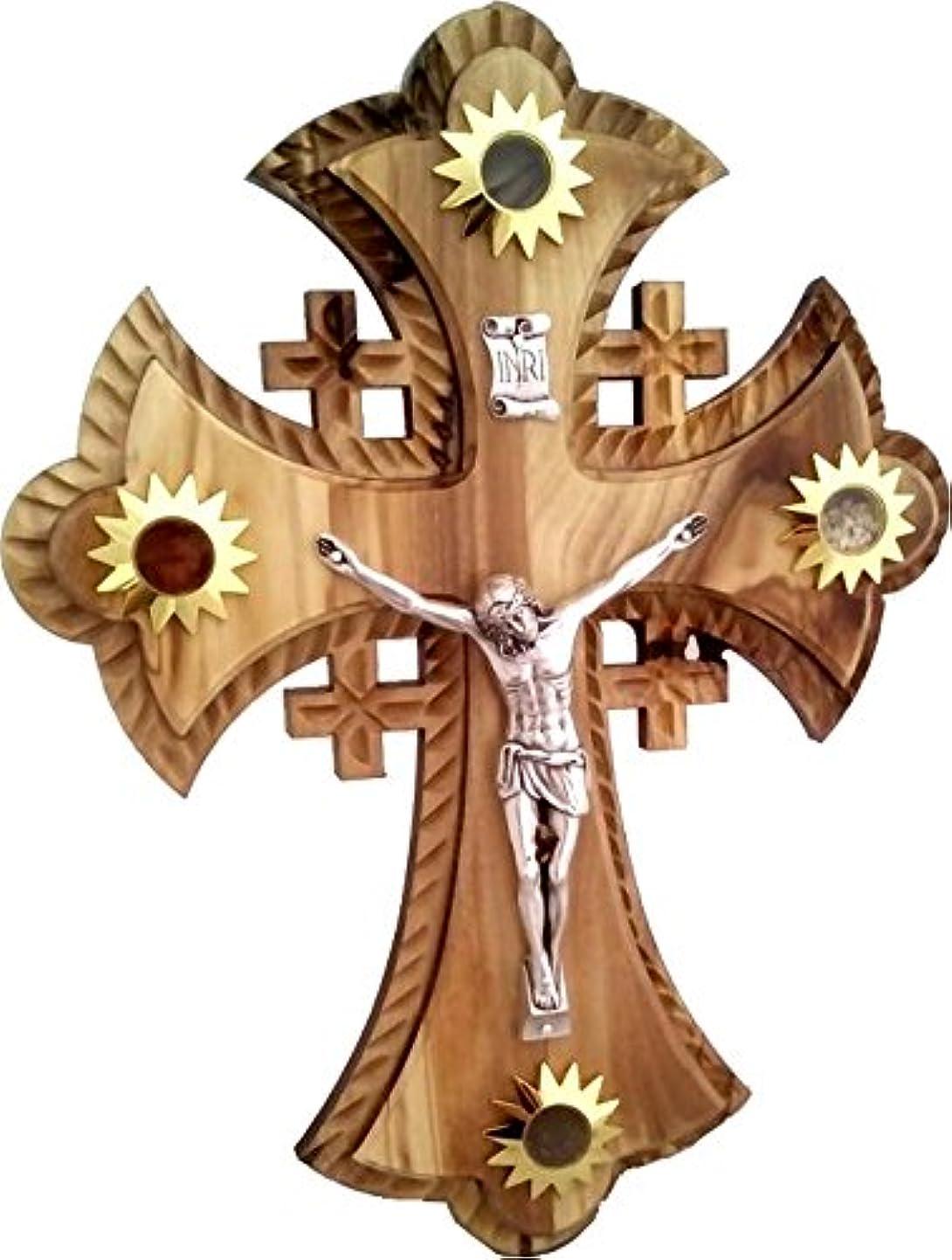 ふける誘うモンク2層のOlivewood Crucifix With Holy Landサンプル – Essences