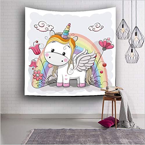 - VAKADO Unicorn Tapestry Wall Hanging Watercolor Cute Cartoon Animal Rainbow Wall Blanket Decor for Nursery Kids Child Birthday Party Dorm Decorations 51x59 Inch White