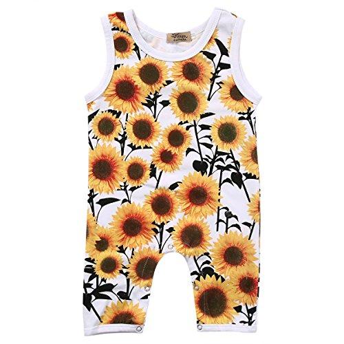 Newborn Baby Boys Girls Sleeveless Sunflower Button Romper Vest Sunsuit (6-12months, Yellow)