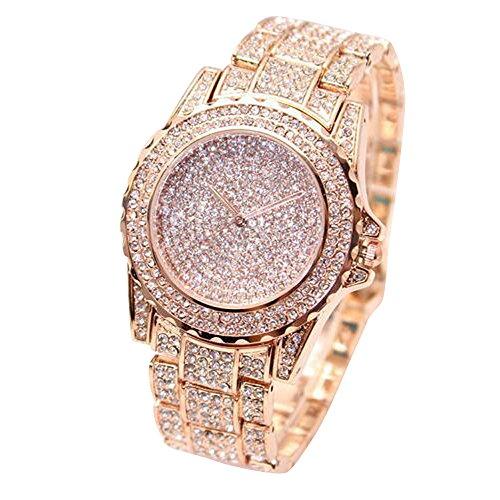 Napoo Women Fashion Luxury Artificial Diamonds Analog Quartz Vogue Watches (Rose ()