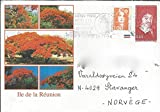 Addressed Decorative Envelope Sent From La R union with 2 Obliterated French Stamps (1996) Descartes (4,40 fr)  and  a Common 1 franc Stamp