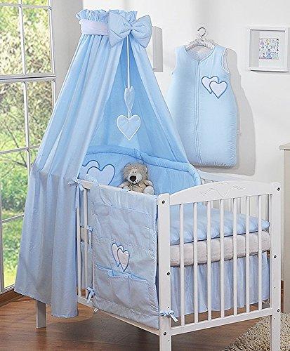 Betthimmel Baby Kinder Stoff blau mit Herzmotiv