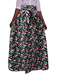 220326016dd Womens High Waist Casual African Print Dashiki Plus Size Pleated Maxi Skirts