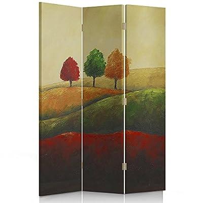 Feeby Frames Il paravento Stampato su Telo,Il divisorio Decorativo per Locali, unilaterale, a 3 Parti (110×150 cm), Paesaggio, Rosso, Verde, Giallo