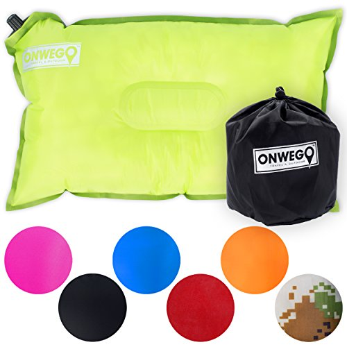 Camping Pillow / Inflatable Air Pillow-- 20in x 12in, 10.5oz, Self Inflating, Compressible-- Best for Outdoor Trips, Backpacking, Hiking, Beach, Travel, Motorcycle, Car -- By ONWEGO - Chinook Pillow