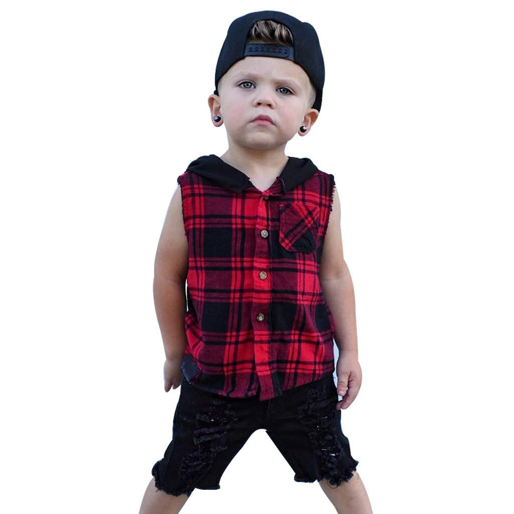 wuayi  Baby Boy Plaid Sleeveless Hoodie Tops Hooded Tee T-Shirt Outfits Clothes 6 Months - 4 Years