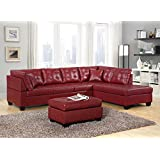 GTU Furniture Pu Leather Living Room Furniture Sectional Sofa Set In Black/ Red (Without