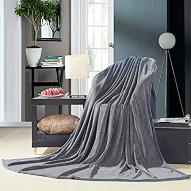 uxcell Super Soft Warm Rug Luxury plush Fleece Throw Blanket, Suitable for Chair or Bed, Machine Washable,Dark Gray, 150 x 200 cm (59  x 78 )