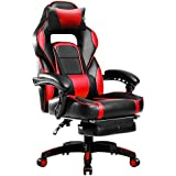 Merax Racing Office Desk Chair Gaming Ergonomic Chair with Footrest and Adjustable Armrests Home Office Computer Computer Chair