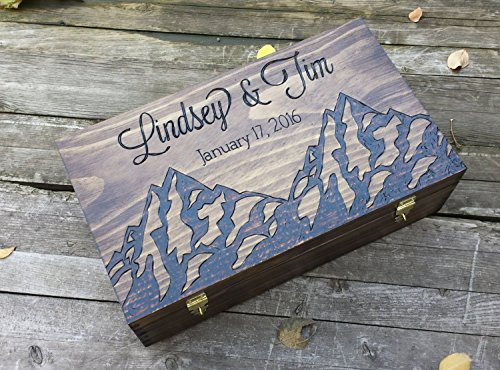 Mountain themed personalized and custom double wedding wine box for two bottles. Love letter ceremony time capsule