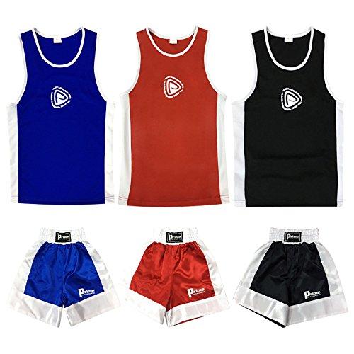 Prime MMA Kids Boxing Shorts & Top Set 2 Pieces Satin Fabric 3 To 14 Years (Red, 13-14 Years) Red Boxing Shorts