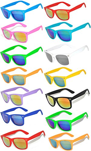 Wholesale Bulk Matte Colored Mirrored Lens Sunglasses 14 pairs - Sun Plastic Glasses