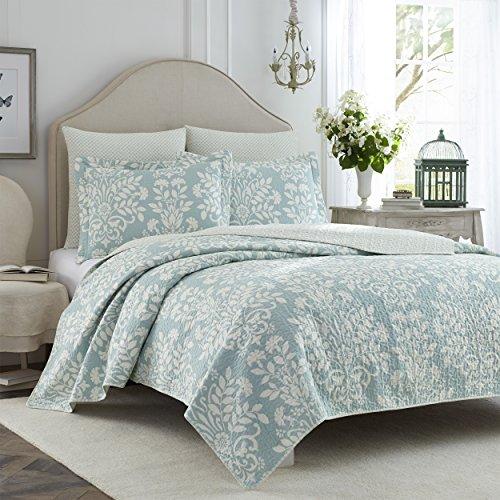 Laura ashley rowland blue quilt set full queen buy - Laura ashley online ...