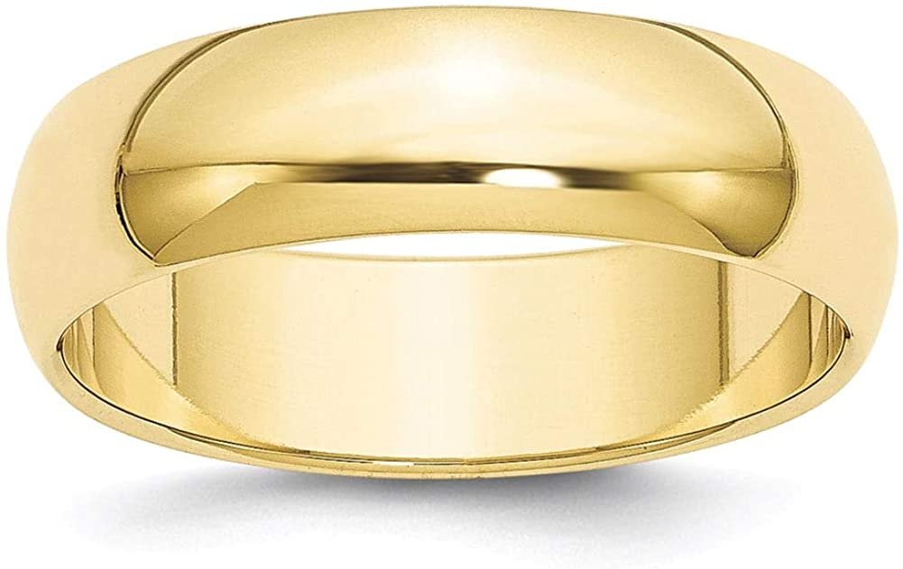 Lex /& Lu 10k Yellow Gold 6mm Half Round Band Ring