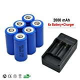 6 x 2000mah 3.7v Cr123a 16340 Li-ion Rechargeable Battery +Charger