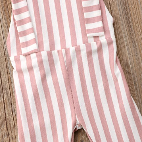 4fdcd0ec09a Toddler Kids Baby Girl Stripes Bell-Bottom Jumpsuit Romper Overalls Pants  Outfits (Brown Pink