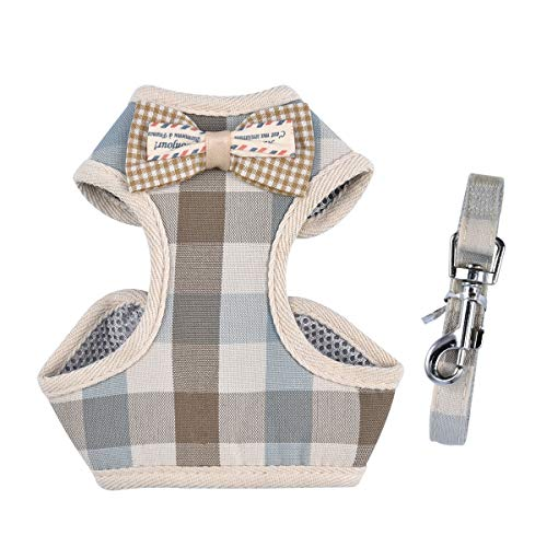 April Pets Comfortable Stylish Cotton Dog & Cat Harness Leash Set for Small Puppies and Cats (L, Grey & Peachy Plaids) -