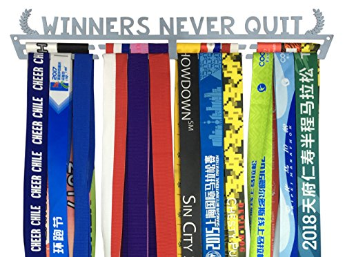 Medal Holder – Winners Never Quit Silver Brushed Medal Display Rack | Medal Hanger For Marathon Race Runners, Triathlon, Gymnastics Or Other Sports