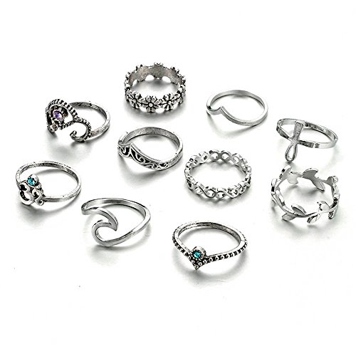 UHANGETH Boho Retro Rings Fashion Hollow Carved Flowers Joint Knuckle Rings Set of 10 Pcs