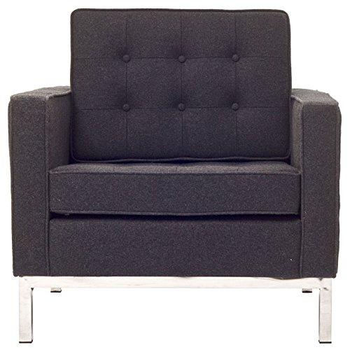 Modway Florence Style Armchair Chair in Dark Gray Wool