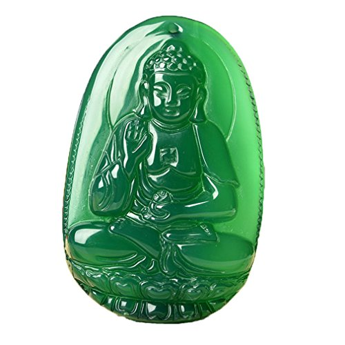 c1lint Buddha Pendant Necklace Bodhisattva Amulet Talisman Made of Agate Gemstone red green (green agate Amitabha (Infinite)) ()