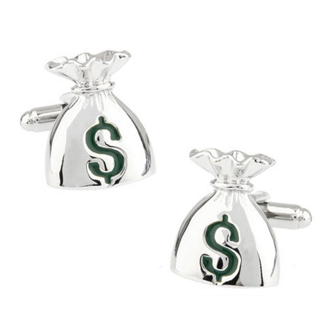 The Jewelbox Money Bag Dollar Silver Rhodium Brass Cufflink Formal Shirt Blazer Suit Cufflinks Pair Men Gift Box