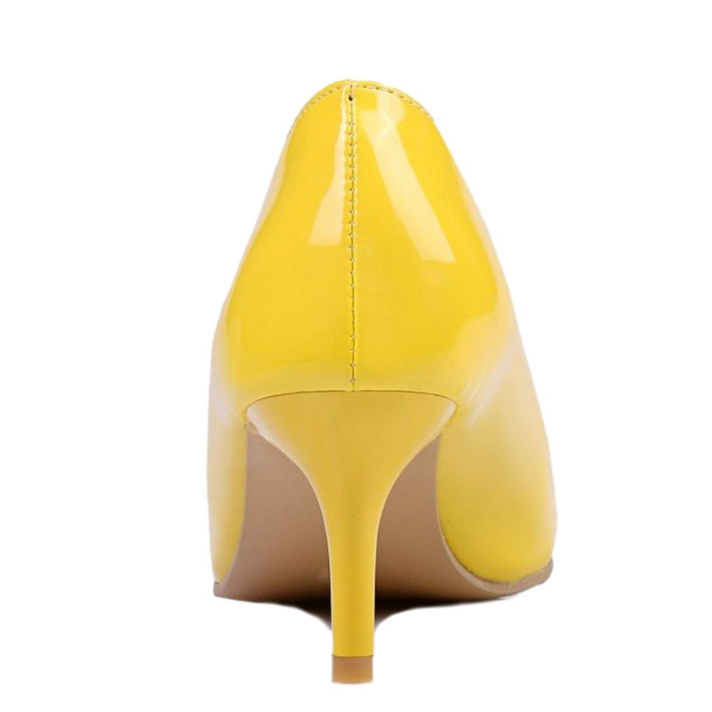 Smilice Women Plus Size US 0-13 Mid Heel Pointy Toe New Dress Pumps 6 Colors Available New B074RFV3RW 35 EU = US 4.5 = 22.5 CM|Yellow